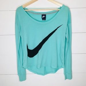 NIKE Off the Shoulder Long Sleeve Top MEDIUM EUC